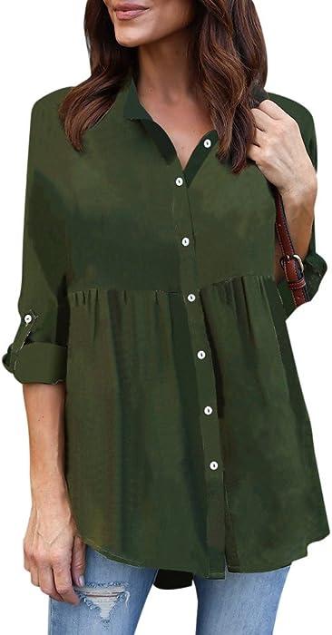 f9735b4299c98 HGWXX7 T-Shirt Women Solid Plus Size Button Long Sleeve Chiffon Work Tops  Blouse (