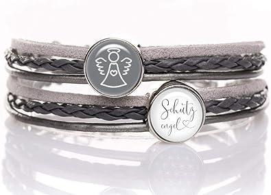 KT Schmuckdesign Wickelarmband grau mit Schutzengel