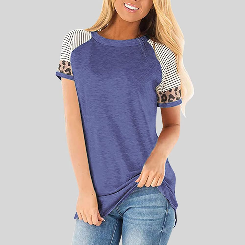 Women Shirts Casual Print Blouse Top Short Sleeve Pullover O-Neck Loose T-Shirt Tops
