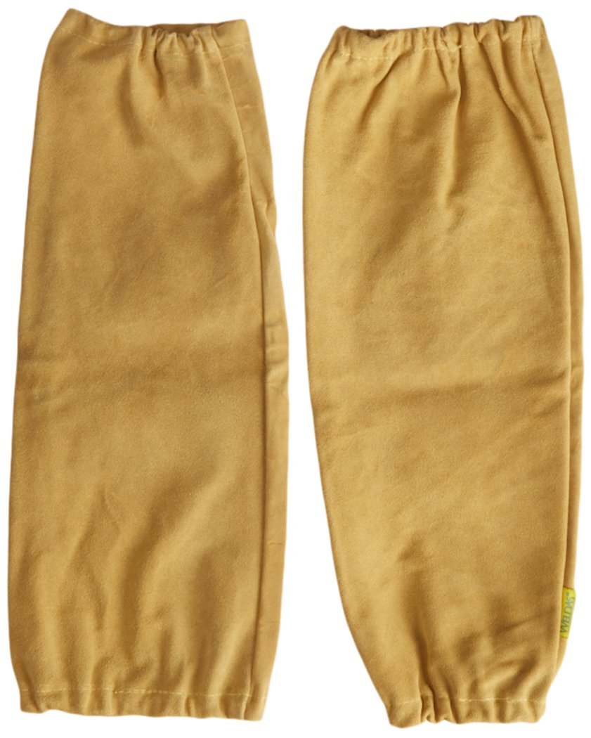 Welding Sleeves, Leather, Golden Brown, 18'', Elastic Cuff, Heat Resistant
