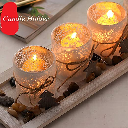 Brand New Tealight Hurricane Candle Holder Polished with River Stones