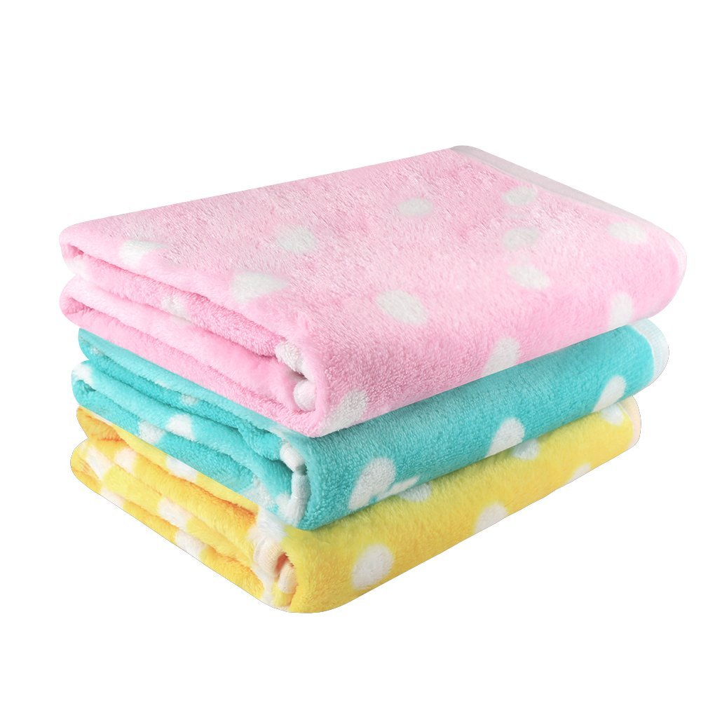 Airsspu Pet Dog Blanket - 3 Pack 3 Colors Cat Puppy Blanket Soft Warm Sleep Mat - For Couch,Car, Bed - Dog Cat and Other Small Animals