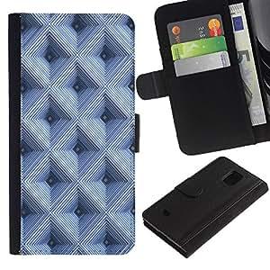 LASTONE PHONE CASE / Lujo Billetera de Cuero Caso del tirón Titular de la tarjeta Flip Carcasa Funda para Samsung Galaxy S5 Mini, SM-G800, NOT S5 REGULAR! / Checkered Pattern 3D Blue