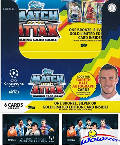 2017/18 Topps Match Attax Champions League Soccer MASSIVE 50 Pack Factory Sealed Box with 300 Cards Plus BONUS (2) Lionel Messi Packs! Look for Top Stars including Messi, Ronaldo, Neymar & Many More! (Total Topps Football)