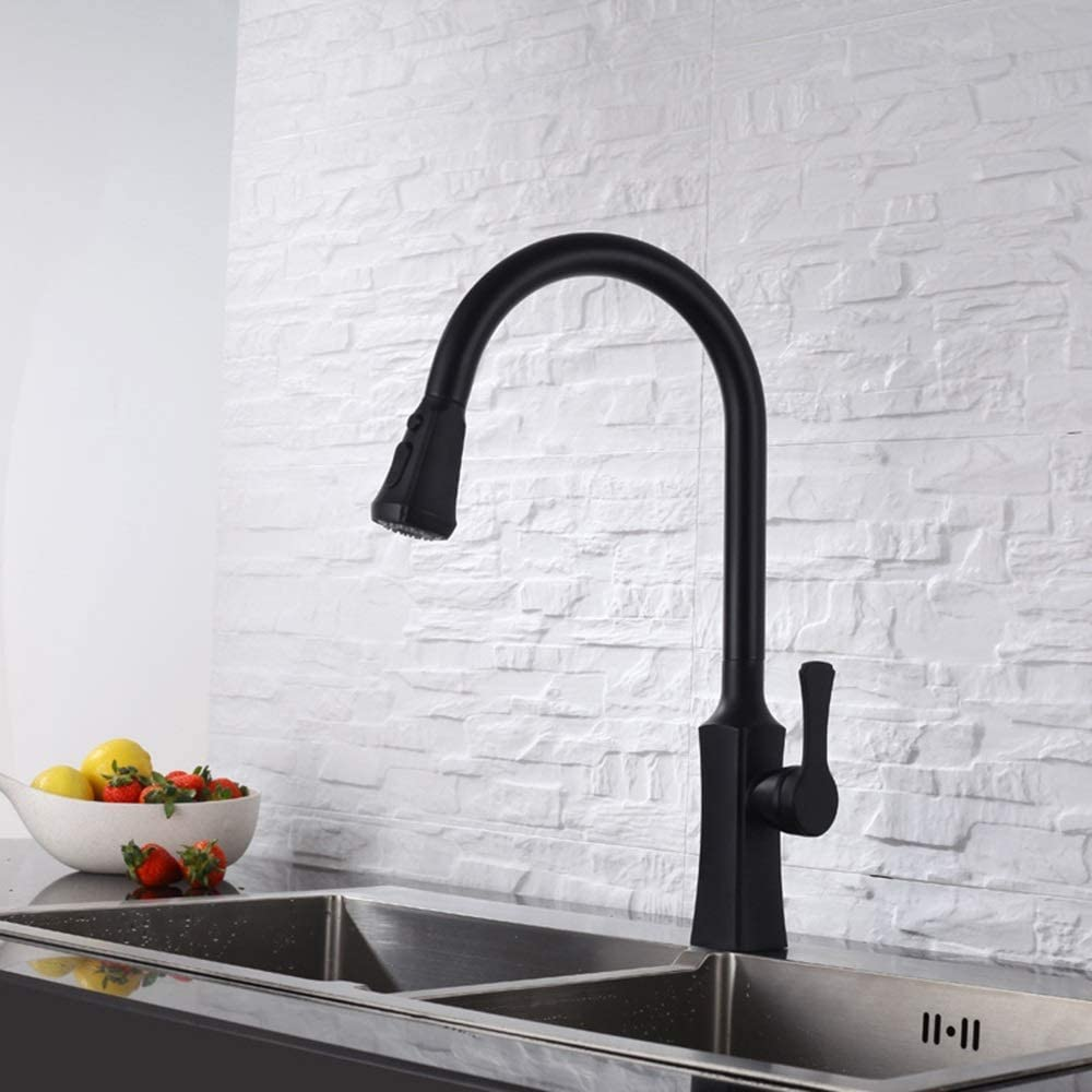 HYY-YY Copper Black Pull Kitchen Faucet Cold Sink Vegetables Basin Sink Faucet rotatably Beautiful Practical