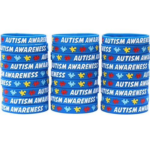200 Autism Awareness Wristbands - Colorful Puzzle Pieces Silicone Bracelets by SayitBands