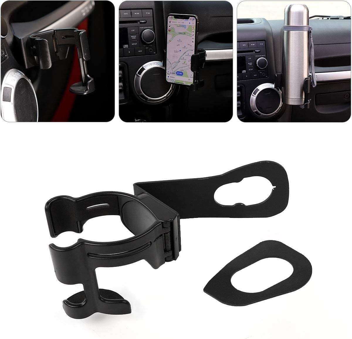 Bolt-on Stand Bracket Organizer for 2011-2018 Jeep Wrangler JK JKU Sahara Rubicon /& Unlimited u-Box Multi-Function Drink Cup Phone Holder