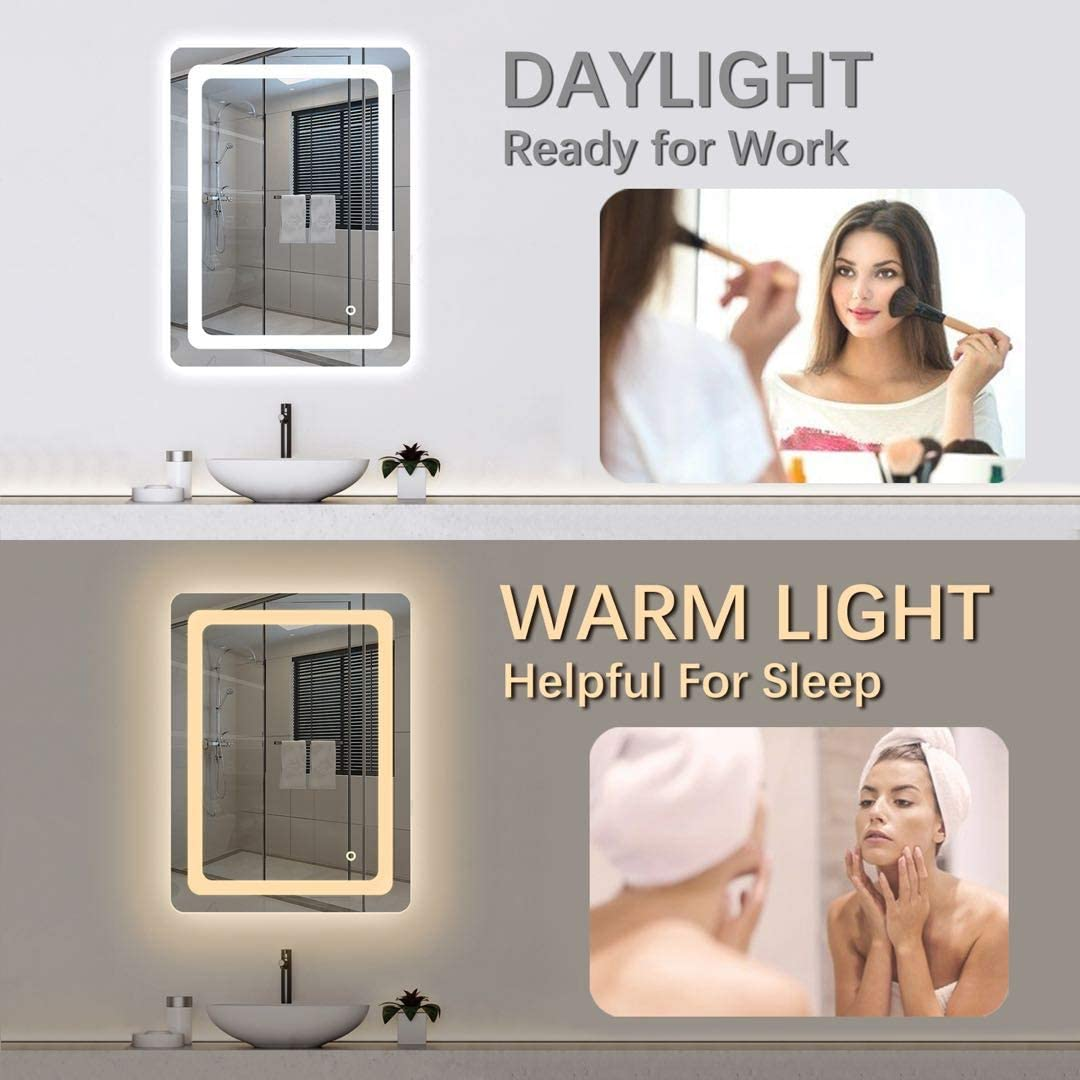 Cozy Castle Bathroom Mirror with LED Lights Lighted Makeup Vanity Mirror Wall Mounted Frameless Large Size 32×24 inch Rectangular, Memory Touch Button, Horizontal Vertical, Warm White Daylight Lights