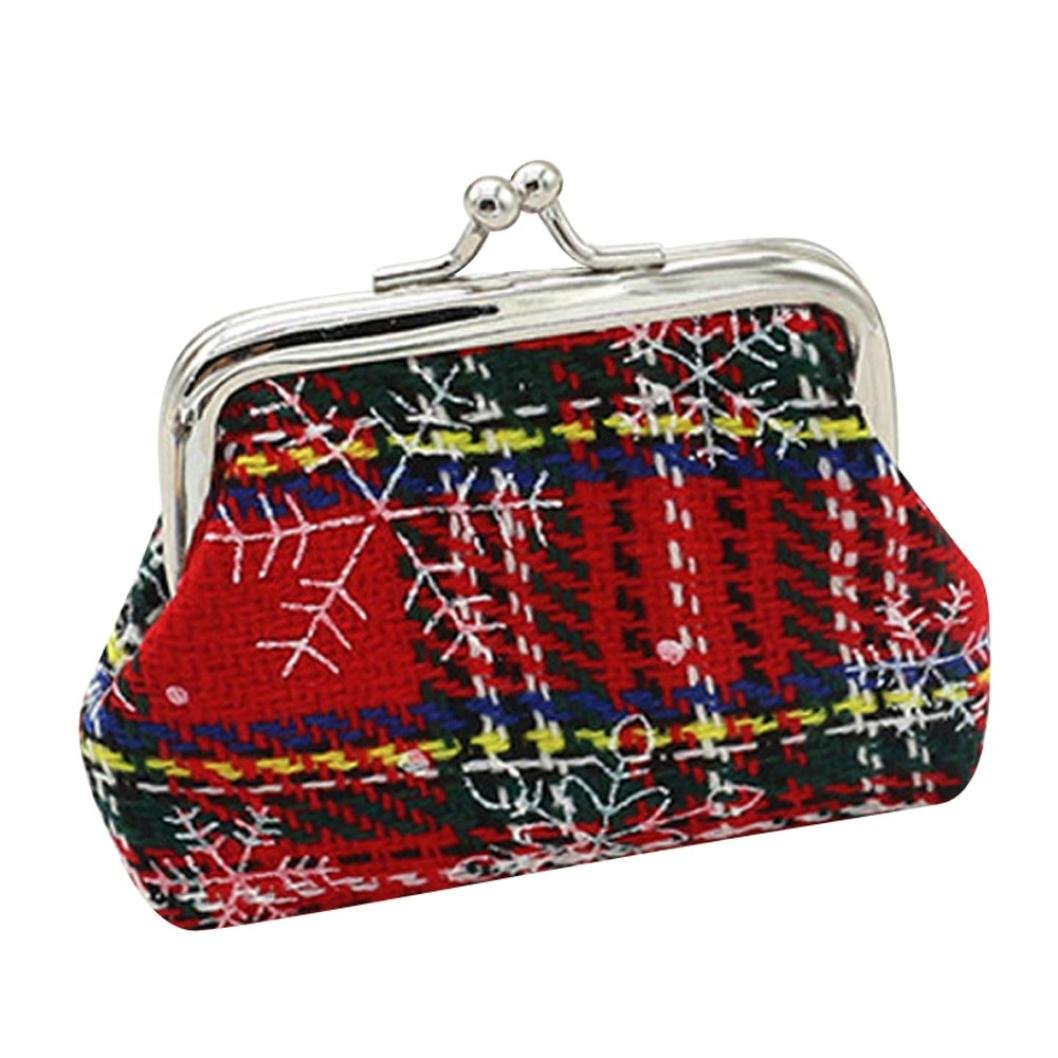 Womail Women Christmas Hasp Wallet Card Coin Change Holder Handbags (Red-B)