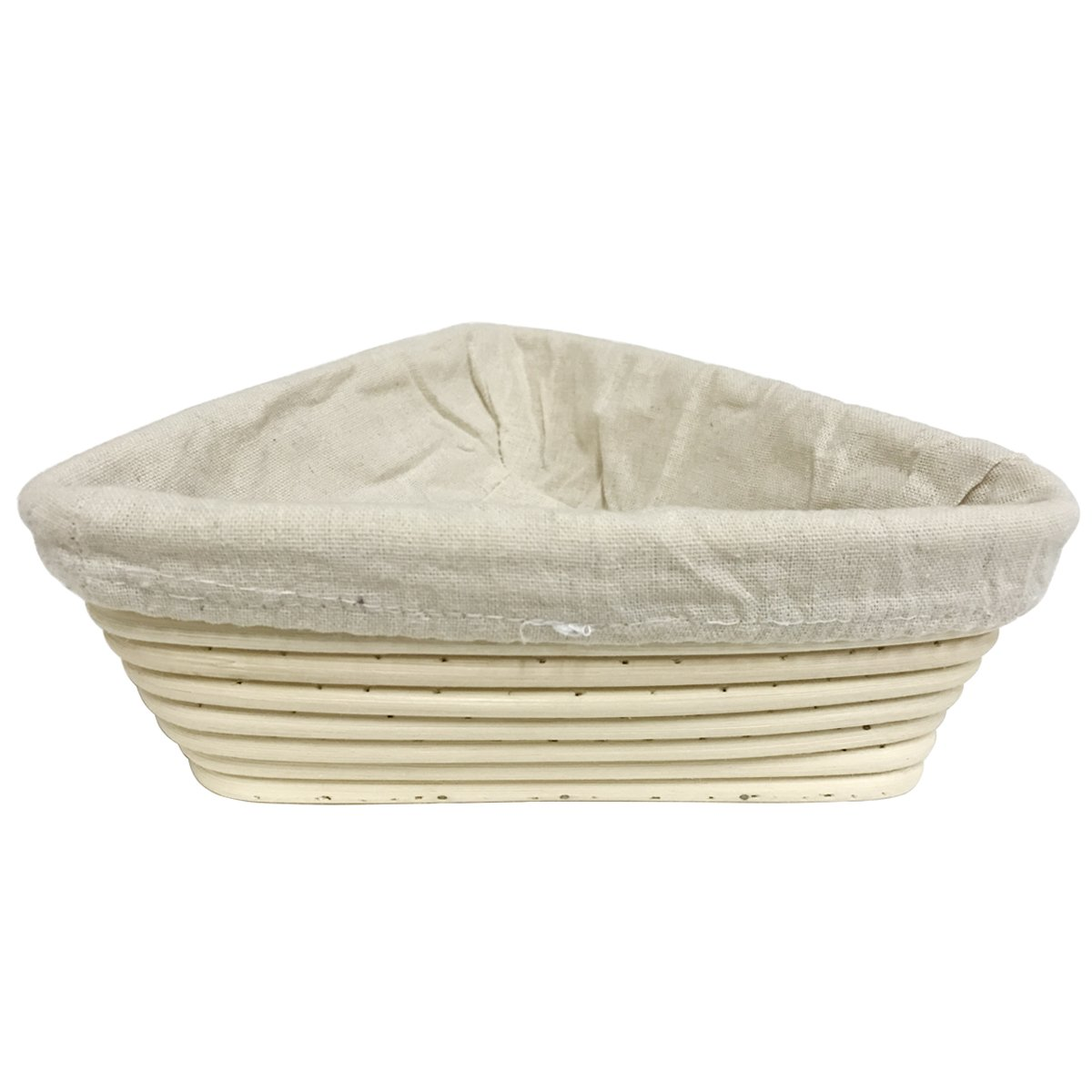 Agile-Shop 9 inch European Style Triangle Shaped Banneton Brotform Bread Dough Proofing Rising Rattan Basket with Linen Liner Cloth