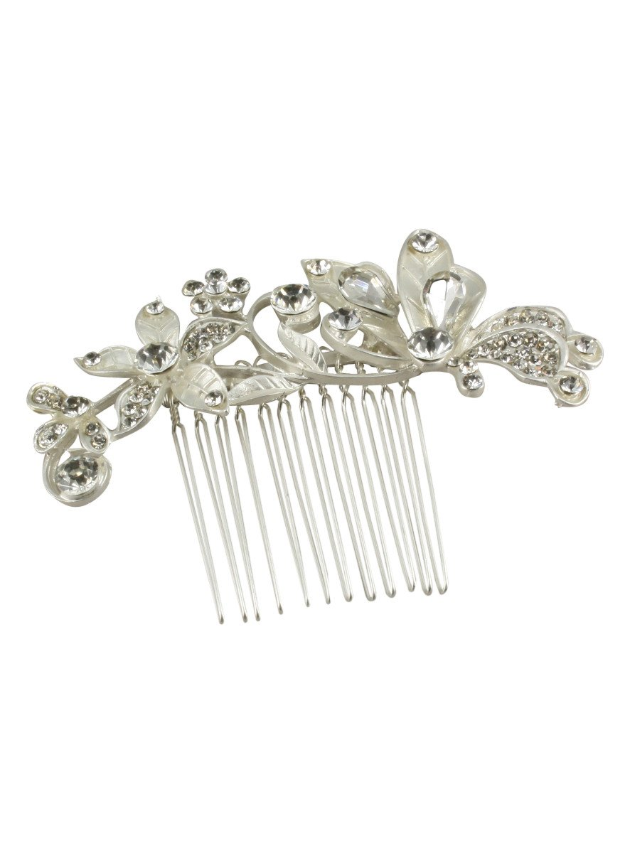 Peigne à cheveux avec strass pour coiffure mariage ou cérémonie - Gris argent - Taille Unique Boutique-Magique