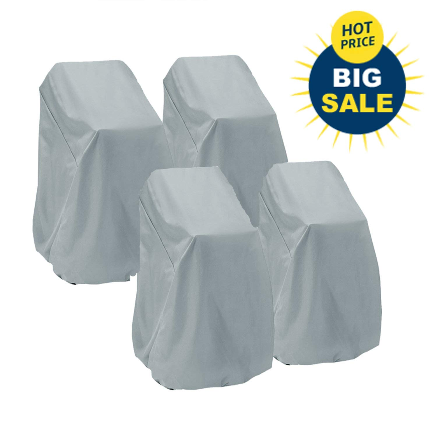 Patio Chair Cover Highback Durable Waterproof Outdoor Bar Stool Cover Stairs Cover Out Furniture Cover Stackable Chairs Cover(L27.5 x D27.5 x H49.2 inch, 4 Pack)