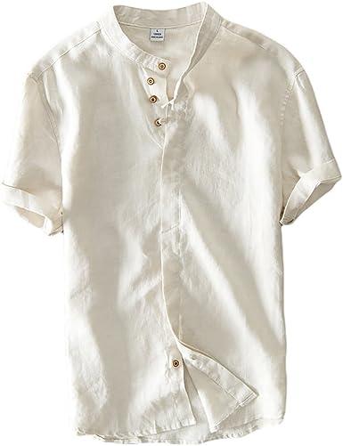 Icegrey Hombre Henley Camisa De Lino De Manga Corta Casual T ...