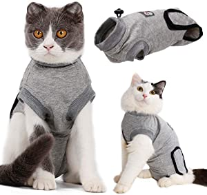 EMUST Cat Recovery Suit, Professional Recovery Suit for Cats Abdominal Wounds and Skin Diseases,Breathable Collar Alternative for Cats, Cat Onesie After Surgery Wear Anti-Licking, M