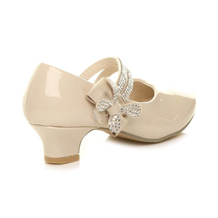 2e0ec4b50d3d Ajvani Girls Kids Childrens Low Heel Strap Bow Bridesmaid Party Formal  Shoes Size  Amazon.co.uk  Shoes   Bags
