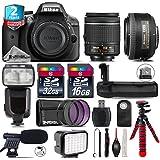 Holiday Saving Bundle for D3300 DSLR Camera + AF-S 35mm f/1.8G DX Lens + AF-P 18-55mm + Flash with LCD Display + Battery Grip + Shotgun Microphone + LED Kit + 2yr Warranty - International Version