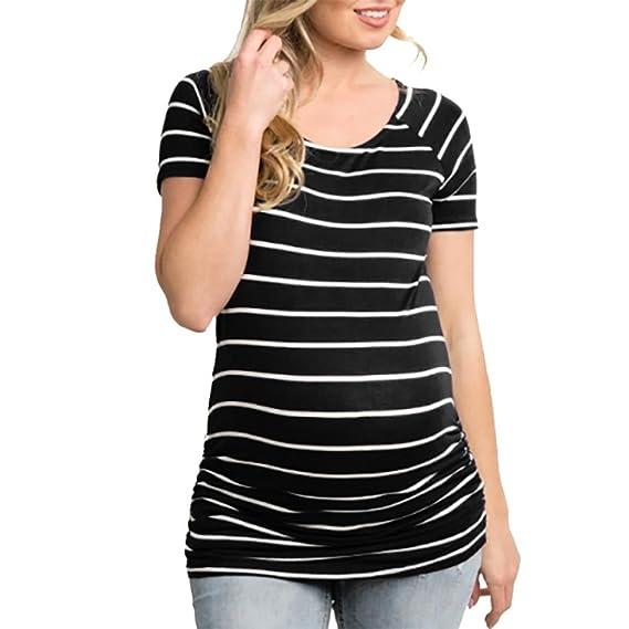Camiseta de maternidad de enfermería de manga corta con cuello en V para mujeres embarazadas de