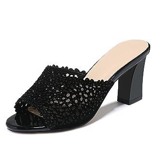 GTVERNH comfort/scarpe da donna/cool pantofole estate pesce bocca Outdoor Wear ruvida e Wild Beach 8cm tacco