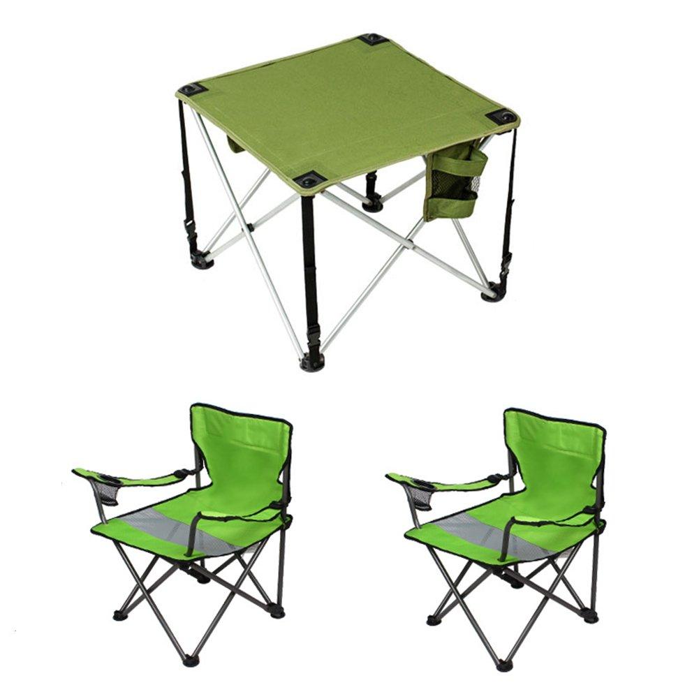 QIANGDA 屋外/アウトドア 折りたたみ テーブルブル椅子 3セット 軽量 ポータブル 重い負担 オックスフォード布 リムーバブル ガーデンサービス B07CSZLPSK