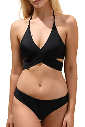 232f542a4b2ed Amazon.com: Solid Wrap Halter Bikini Set, Sexy Brazilian Swimsuit for Women:  Clothing