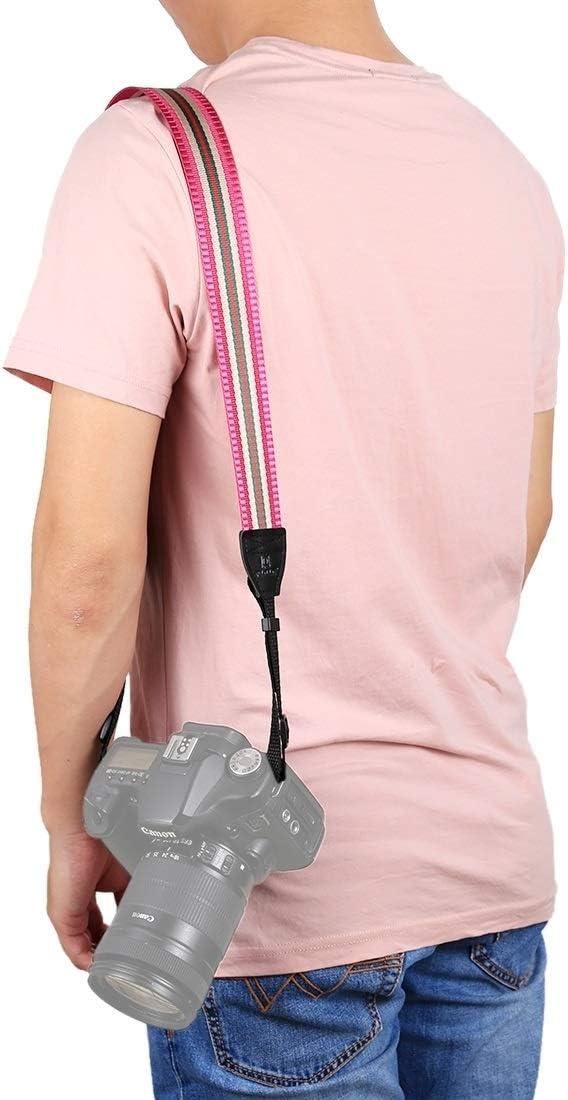 CAOMING Stripe Style Series Shoulder Neck Strap Camera Strap for SLR//DSLR Cameras Durable Color : Lake Blue