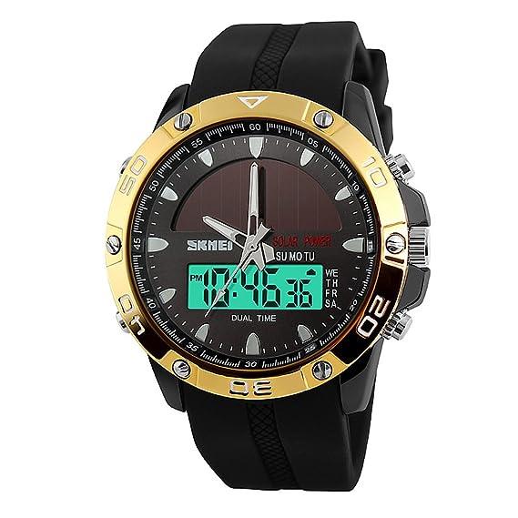 LED Digital relojes para hombres Deportes reloj Dual Display 5 ATM resistente al agua reloj Solar al aire libre: Amazon.es: Relojes
