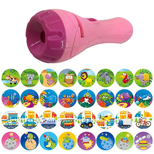 Pueri Projector Toy Kids Story Flashlight Toy Sleep Animal Slide Show Early Educational Toy for Kids Toddler Boys and Girls