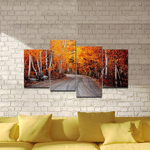 Pyradecor Forest Road Nature 4 Piece Modern Stretched and Framed Landscapes Giclee Canvas Prints Artwork Orange Trees Pictures Paintings on Canvas Wall Art for Living Room Bedroom Decorations