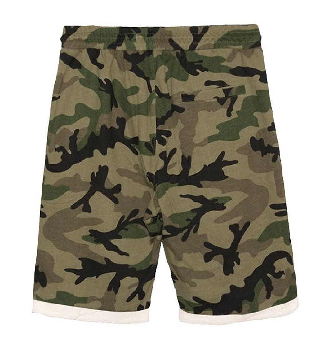 CrazyDay Mens Short Oversize Camo Classic Fashion Washed Sport Trunks Sweatpants