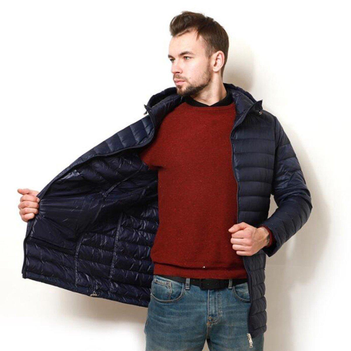 bleu XXXL LINYI Mode Masculine épaisse Doudoune Longue Section
