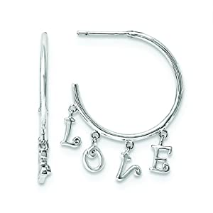 .925 Sterling Silver 31 MM LOVE Post Hoop Earrings