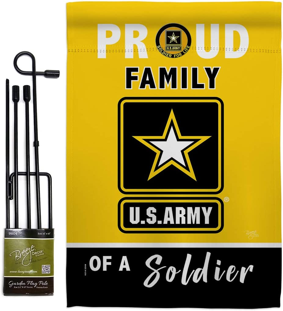 Breeze Decor Proud Family Soldier Garden Flag Set with Stand Armed Forces Army Rangers United State American Military Veteran Retire Official House Banner Small Yard Gift Double-Sided, Made in USA