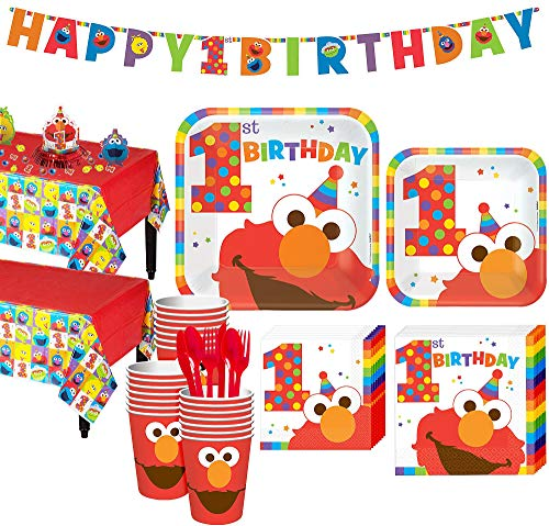 Party City 1st Birthday Elmo Party Kit for 32 Guests, Includes Table Covers, Table Decorating Kit, and -