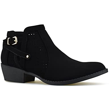bd95cc768 Premier Standard - Women's Strappy Buckle Closed Toe Bootie - Low Heel  Casual Comfortable Walking Boot