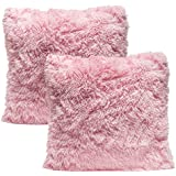 chanasya super soft long shaggy chic fuzzy fur faux fur warm elegent cozy pink throw pillow cover pillow sham solid pink fur throw pillowcase 18x18 inches - Pink Decorative Pillows