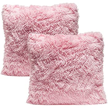 Chanasya Super Soft Long Shaggy Chic Fuzzy Fur Faux Fur Warm Elegent Cozy Pink Throw Pillow Cover Pillow Sham - Solid Pink Fur Throw Pillowcase 18x18 Inches 2-Pack(Pillow Insert Not Included)