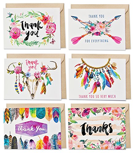 36 Boho Thank You Cards Bulk Assortment – 6 Unique Designs with Blank Inside – 4 x 6 Inch Cards Includes 36 Kraft Envelopes (no adhesive) and 36 Boho Heart Stickers | SPUNKYsoul Designs