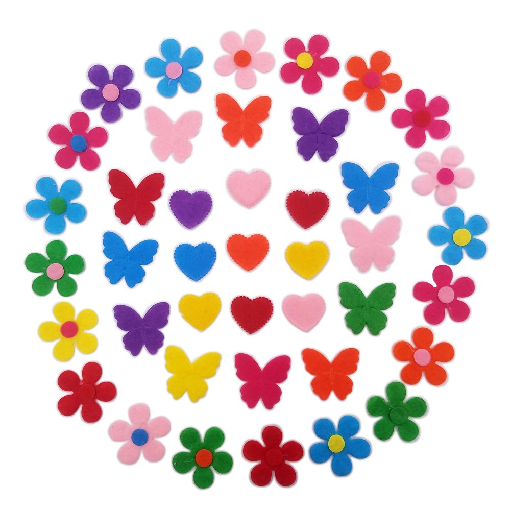 MAGICMAI Felt Flowers Felt Heart Felt Butterfly Fabric Flower Embellishments for DIY and Crafts, Assorted Color, 150 Pieces, 3 Styles