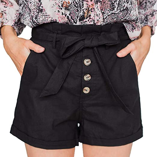 7362cf4af9 Women's Button Casual Shorts, Trendinao Drawstring Strap Slim Fit High Waist  Bow Cargo Shorts | Amazon.com