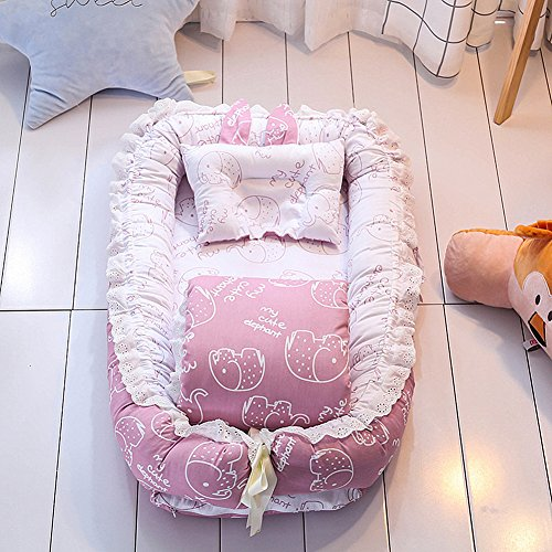 Ukeler Reversible Baby Nest/Bassinet/Lounger for Bed- 100% Cotton Portable Crib for Bedroom/Travel - Breathable & Hypoallergenic Co-Sleeping Baby Bed, Suitable for 0-24 Month