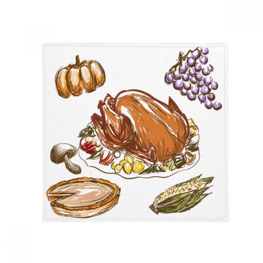 DIYthinker Turkey Grape Thanksgiving Day Pattern Anti-Slip Floor Pet Mat Square Home Kitchen Door 80Cm Gift