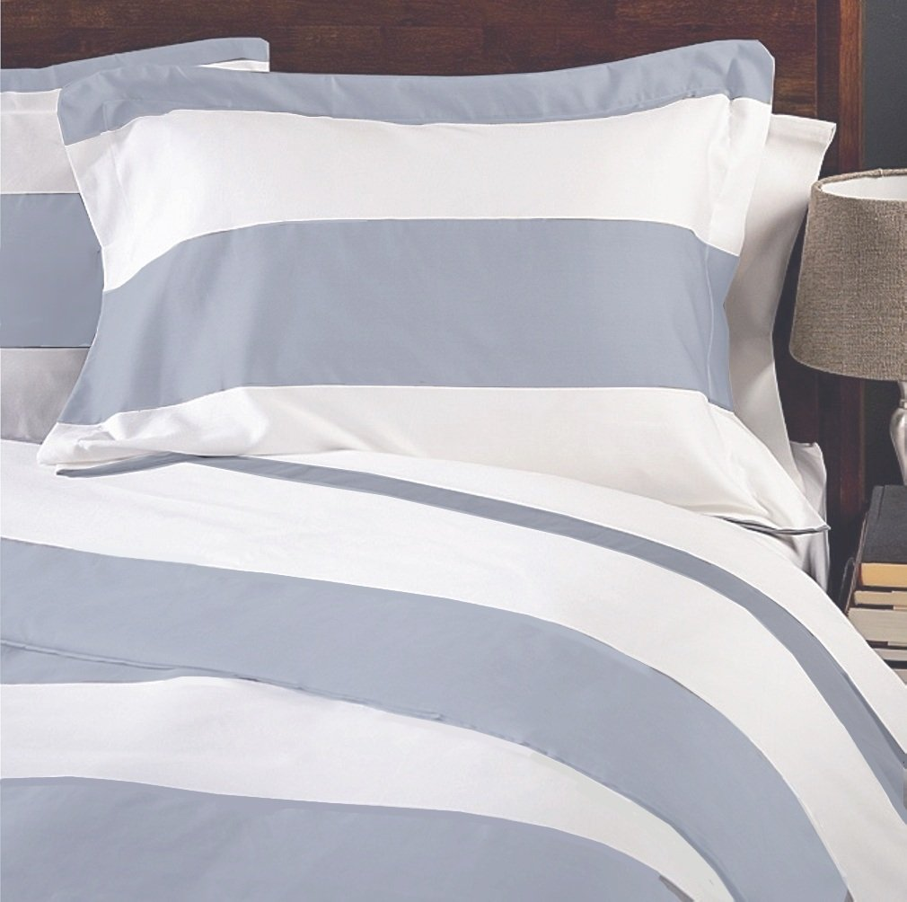MARRIKAS WRINKLE RESISTANT 600TC CALIFORNIA KING STRIPE BLUE WITH WHITE 7 PC COMBO