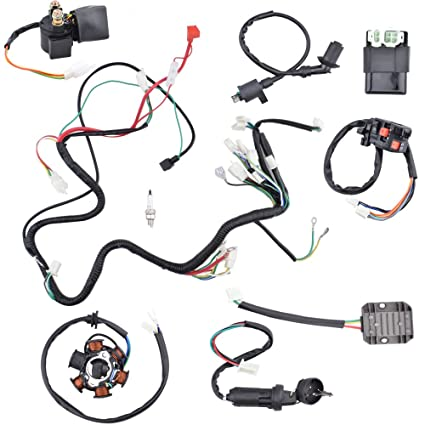 amazon com: minireen complete wiring harness kit electrics wire loom  assembly for gy6 4-stroke four wheelers engine type 125cc 150cc pit bike  scooter atv
