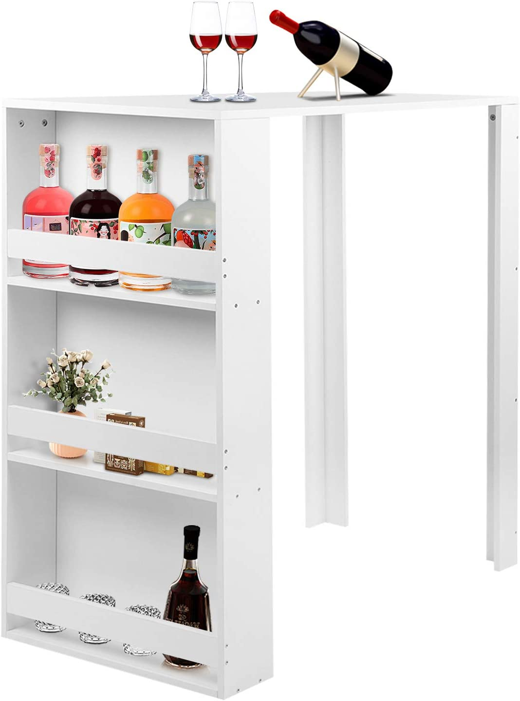 Bar Table with Storage, Modern Counter Height Pub Table Wooden Kitchen High Dining Table with Side Cabinet Storage Shelf for Home, Living Room, Dining Room, Bar, Pub and Small Places, White