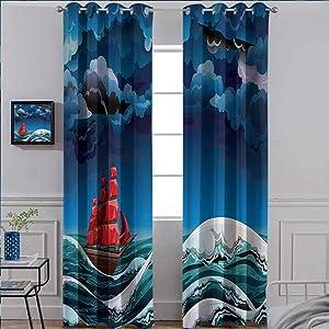 Nautical Heat Absorbing Curtain Energy Efficient Room Darkening Home Vintage Vessel Sailing in Stormy Weather at Dark Night Majestic Wave Print Blue Orange Plum 54