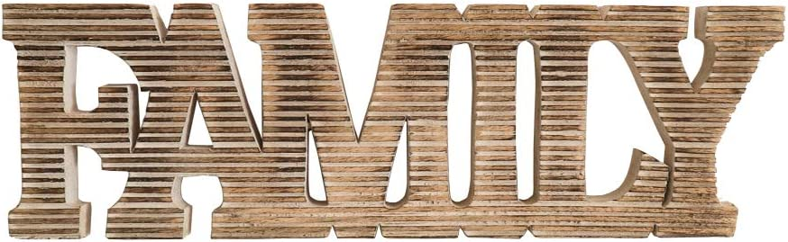 """Kaizen Casa  Mango Wood """"Family"""" Bold Wood Sign Woodcraft Letters Rustic Horizontal Lines  Size- 20"""