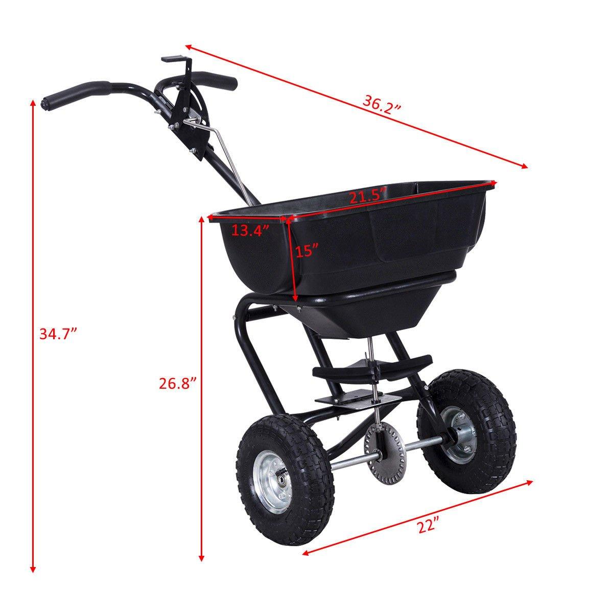 Broadcast Spreader Fertilizer Cart Builder Garden Seeder Push Walk Behind Black