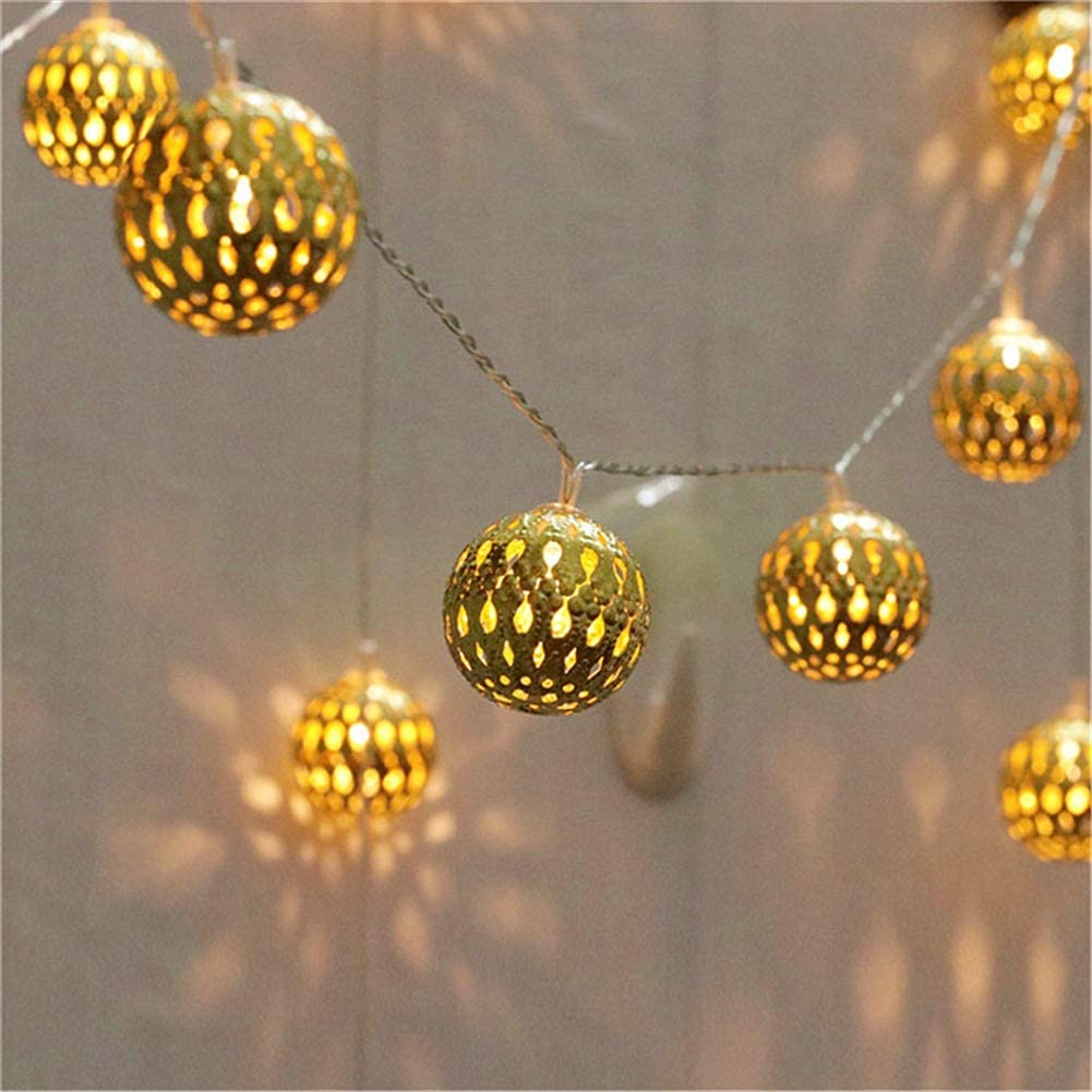 Twinkle Star 40 LED Globe String Lights, Halloween Decorations Golden Moroccan Hanging Lights Battery Operated Decor for Indoor, Home, Bedroom, Party, Wedding, Christmas Tree, Warm White