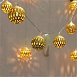 Twinkle Star 40 LED Globe String Lights, Halloween Decorations Golden Moroccan Hanging Lights Battery Operated Decor for Indo