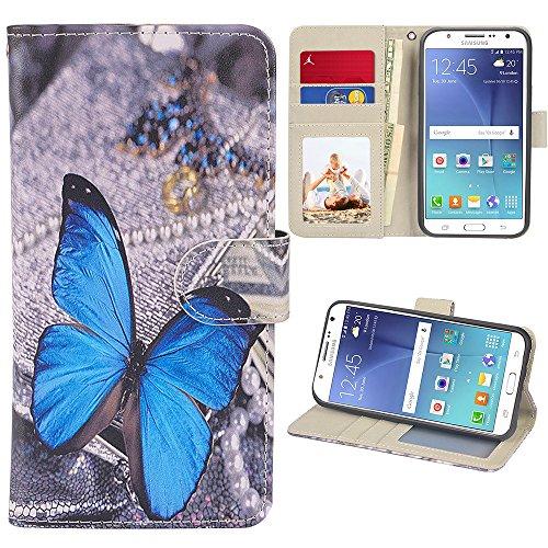 J7 Case, UrSpeedtekLive Galaxy J7 Wallet Case, Premium PU Leather Flip Wallet Case Cover w/Card Slots & Kickstand Compatible with Samsung Galaxy J7, Blue Butterfly